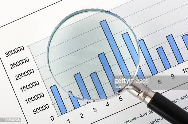 Magnifying glass,on business graph
