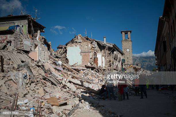 Magnitude earthquake in Italy between Lazio and Marche regions which killed 121 people. The rescue workers amid the rubble in the village of Amatrice...