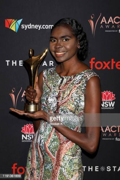 Magnolia Maymuru poses with AACTA Award for Best Supporting Actress in the media room during the 2019 AACTA Awards Presented by Foxtel | Industry...