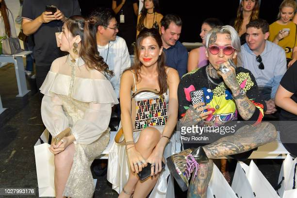 Magnolia White and Chris Lavish attend the Lan Yu front row during New York Fashion Week The Shows at Industria Studios on September 6 2018 in New...