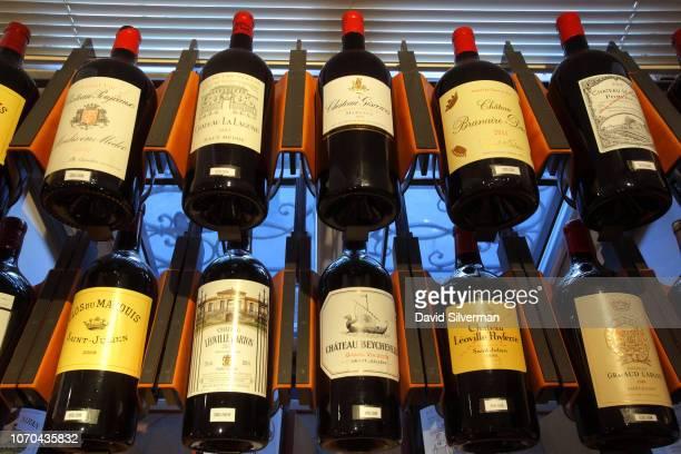 Magnum bottles of Bordeaux wine on display at the L'Intendant Grands Vins de Bordeaux wine shop on June 29 2018 in Bordeaux France L'Intendant is...