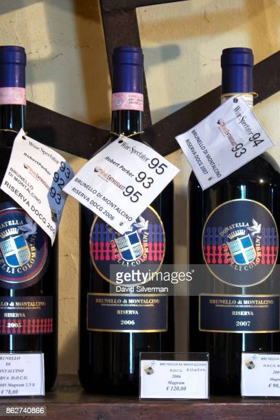 Magnum bottles of Casato Prime Donne winery's 100% Sangiovese grape Brunello di Montalcino Riserva wines dated to 2005 2006 and 2007 and showing...