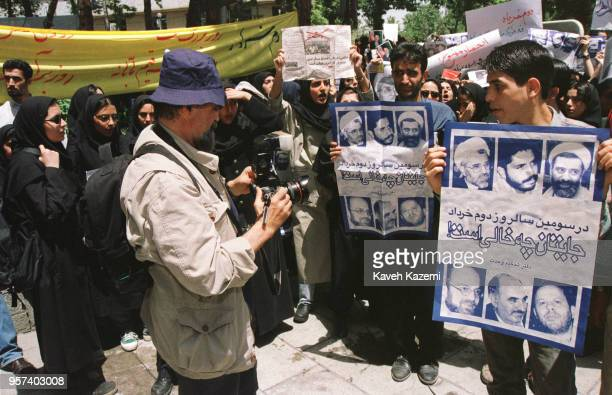 Magnum photographer of Iranian origin Abbas Attar commonly known by his first name Abbas photographs supporters of president Mohammad Khatami on the...