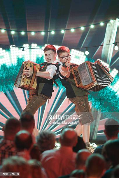 Magnus and Quirin Kapfhammer 'Kapfhammer Buam' perform on stage during the taping of the tv show 'Beatrice Egli Die grosse Show der Traeume' on May...