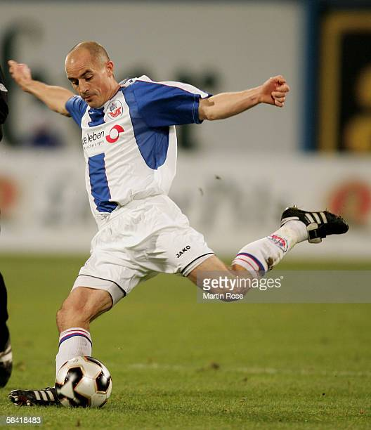 Magnus Arvidsson of Rostock shoots at goal during the Second Bundesliga match between Hansa Rostock and Greuther Furth at the Ostsee Stadium on...