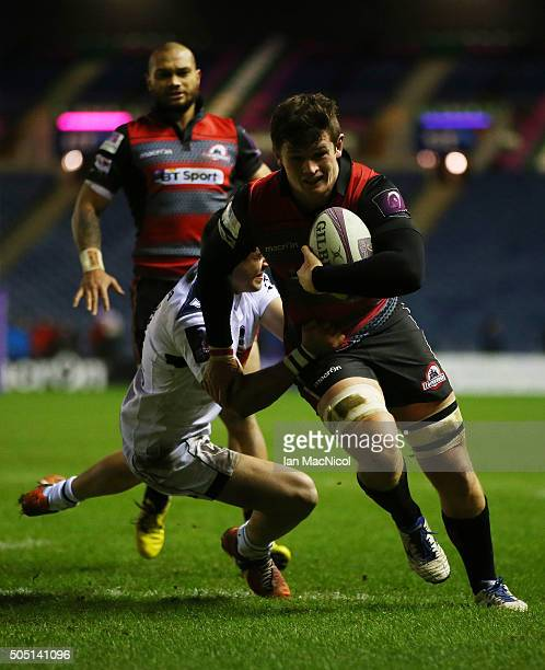 Magnus Bradbury of Edinburgh Rugby scores a try during the European Rugby Challenge Cup match between Edinburgh Rugby and Agen at Murrayfield Stadium...