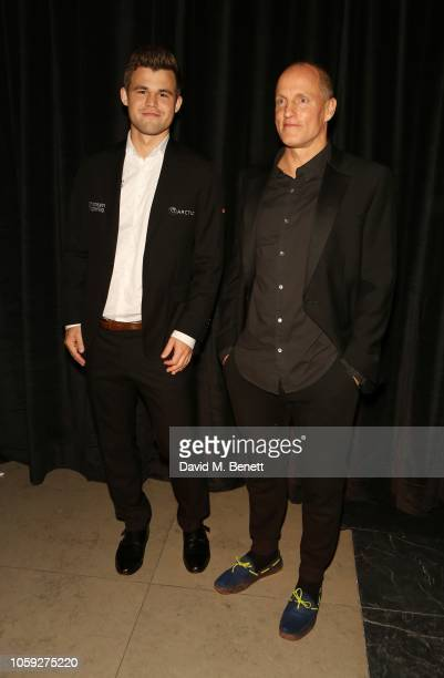 Magnus Carlsen and Woody Harrelson attends the FIDE World Chess Championship 2018 Gala Opening 2018 at The VA on November 8 2018 in London England
