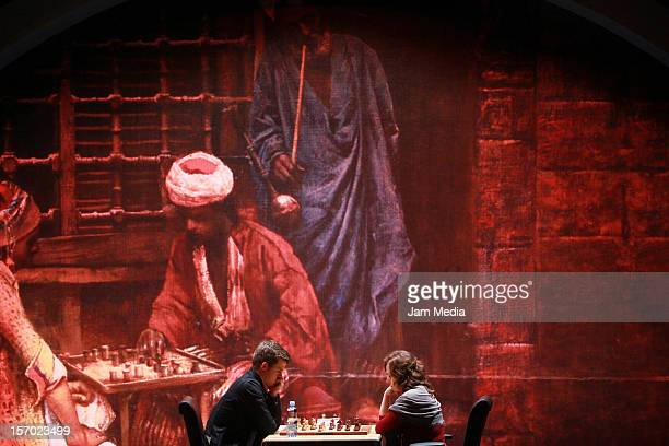 Magnus Carlsen from Norway and Judit Polgar from Hungary play the final chess game Foursquare Blindfold and Rapid Tournament, as part of the Second...