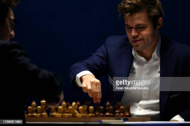 Magnus Carlsen of Norway competes against Fabiano Caruana of USA during the 83rd Tata Steel Chess Tournament held in Dorpshuis De Moriaan on January...