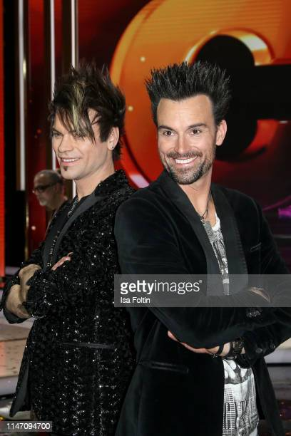 Magnus Christian Ehrlich and his brother Andreas Ehrlich during the television show 'Willkommen bei Carmen Nebel' at Velodrom on May 4, 2019 in...