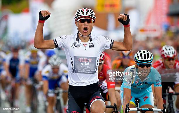 Magnus Cort Nielsen of Cult Energy Vital Water wins stage one of the Tour of Denmark between Hobro and Mariager on August 6 2014 in Mariager Denmark