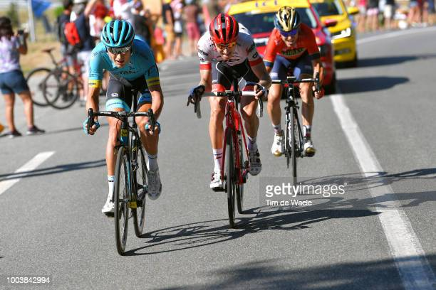 Magnus Cort Nielsen of Denmark and Astana Pro Team / Bauke Mollema of The Netherlands and Team Trek Segafredo / Jon Izaguirre Insausti of Spain and...