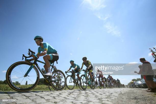 Magnus Cort Nielsen of Denmark and Astana Pro Team / Peloton / Warlaing A Brillon Sector 12 / Cobbles / Pave / Dust / during the 105th Tour de France...