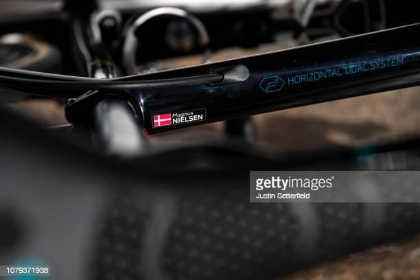 Magnus Cort Nielsen of Denmark and Astana Pro Team / Top tube Argon 18 Bike / Detail view / on December 18 2018 in Altea Spain
