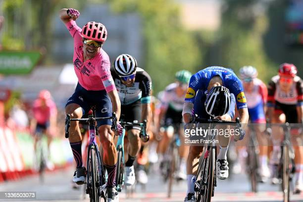Magnus Cort Nielsen of Denmark and Team EF Education - Nippo celebrates winning ahead of Andrea Bagioli of Italy and Team Deceuninck - Quick-Step and...