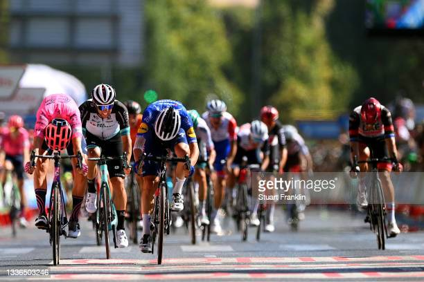 Magnus Cort Nielsen of Denmark and Team EF Education - Nippo sprints to win ahead of Andrea Bagioli of Italy and Team Deceuninck - Quick-Step and...