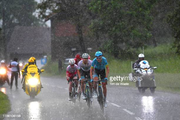 Magnus Cort of Denmark and Astana Pro Team / Alexey Lutsenko of Kazakhstan and Astana Pro Team / Michael Woods of Canada and Team EF Education First...