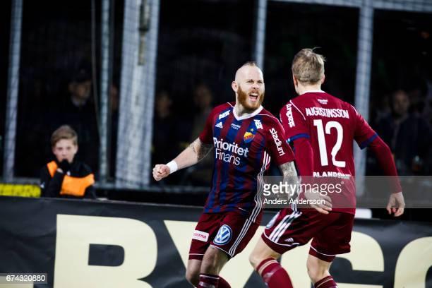 Magnus Eriksson celebrates after scoring during the Allsvenskan match between Halmstad BK and Djurgardens IF at Orjans Vall on April 27 2017 in...