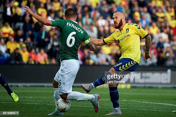 Magnus Eriksson of Brondby IF and Ivo Ivanov of PFC Beroe Stara Zagora compete for the ball during the UEFA Europa League Qualification match between...