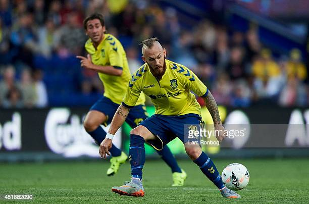 Magnus Eriksson of Brondby IF controls the ball during the UEFA Europa League Qualification match between Brondby IF and PFC Beroe Stara Zagora at...