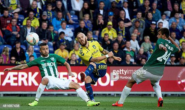 Magnus Eriksson of Brondby IF in action during the UEFA Europa League Qualification match between Brondby IF and PFC Beroe Stara Zagora at Brondby...