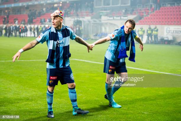 Magnus Eriksson of Djurgardens IF and Kim Kallstrom of Djurgardens IF celebrates after the victory during the allsvenskan match between Kalmar FF and...