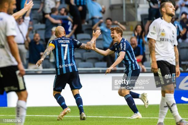 Magnus Eriksson of Djurgardens IF celebrates scoring the 2-0 goal with teammate Aslak Witry during the Allsvenskan match between Djurgardens IF and...