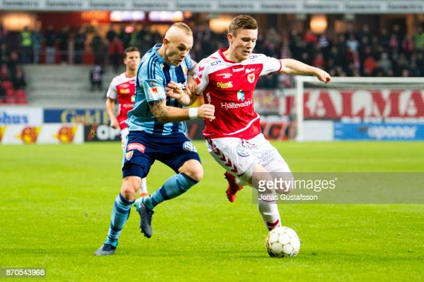 Magnus Eriksson of Djurgardens IF competes for the ball during the allsvenskan match between Kalmar FF and Djurgarden IF at Guldfageln Arena on...