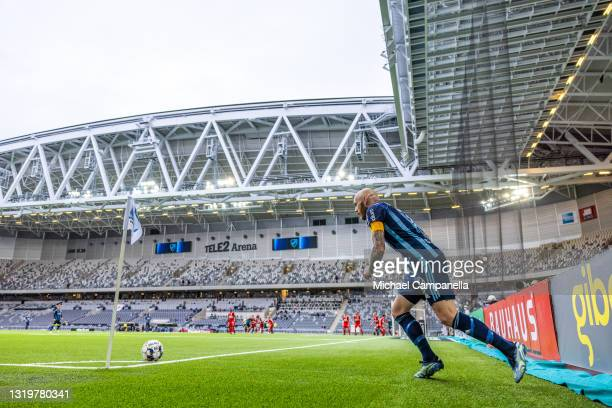 Magnus Eriksson of Djurgardens IF during the Allsvenskan match between Djurgardens IF and IFK Goteborg at Tele2 Arena on May 23, 2021 in Stockholm,...
