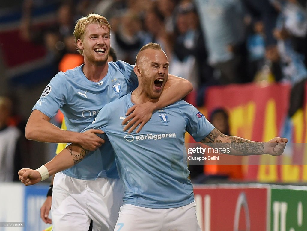 Magnus Eriksson of Malmo celebrates after scoring the goal 2-0 during UEFA Champions League qualifying play-offs round second leg match between Malmo FF and Red Bull Salzburg on August 27, 2014 in Malmo, Sweden.
