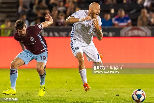 Magnus Eriksson of the San Jose Earthquakes right reacts after making contact with Jack Price of the Colorado Rapids during the second half at Dick's...