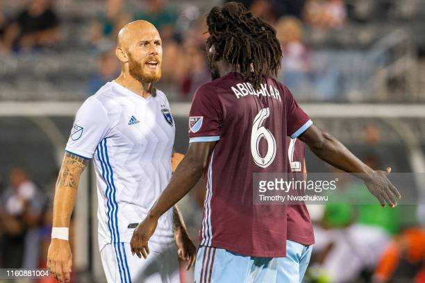 Magnus Eriksson of the San Jose Earthquakes speaks with Lalas Abubakar of the Colorado Rapids during the second half at Dick's Sporting Goods Park on...