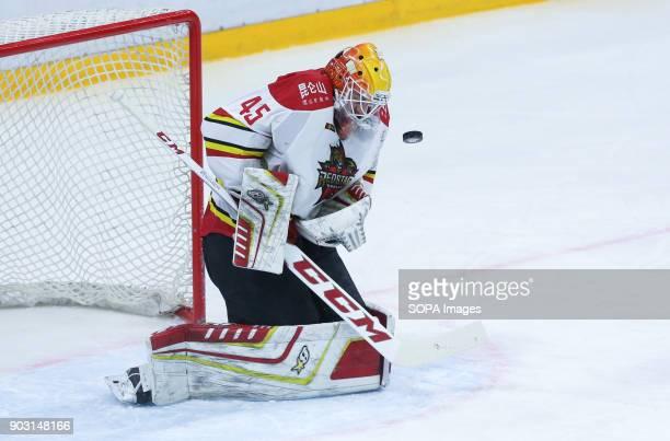Magnus Hellberg of HC Kunlun Red Star in action during the 2017/18 Kontinental Hockey League Regular Season match between HC Kunlun Red Star and HC...