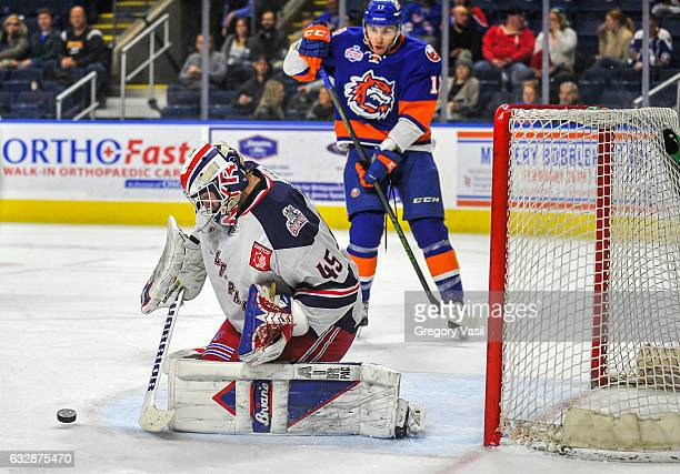 Magnus Hellberg of the Hartford Wolf Pack makes a save against the Bridgeport Sound Tigers at the Webster Bank Arena on January 27 2017 in Bridgeport...