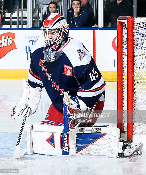 Magnus Hellberg of the Hartford Wolf Pack prepares for a shot against the Toronto Marlies during AHL game action on December 3 2016 at Ricoh Coliseum...