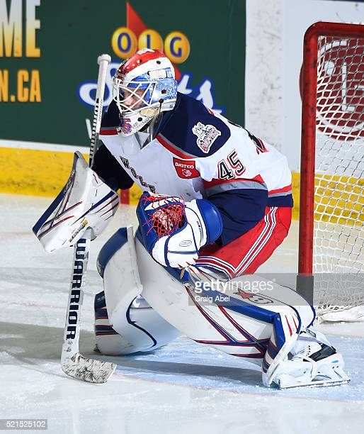 Magnus Hellberg of the Hartford Wolf Pack skates in warmup prior to a game against the Toronto Marlies on April 13 2016 at the Ricoh Coliseum in...