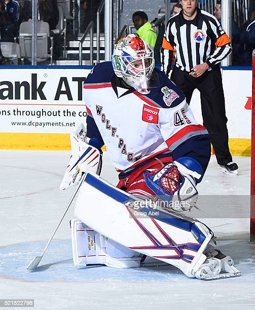 Magnus Hellberg of the Hartford Wolf Pack stops a shot against the Toronto Marlies during game action on April 13 2016 at the Ricoh Coliseum in...