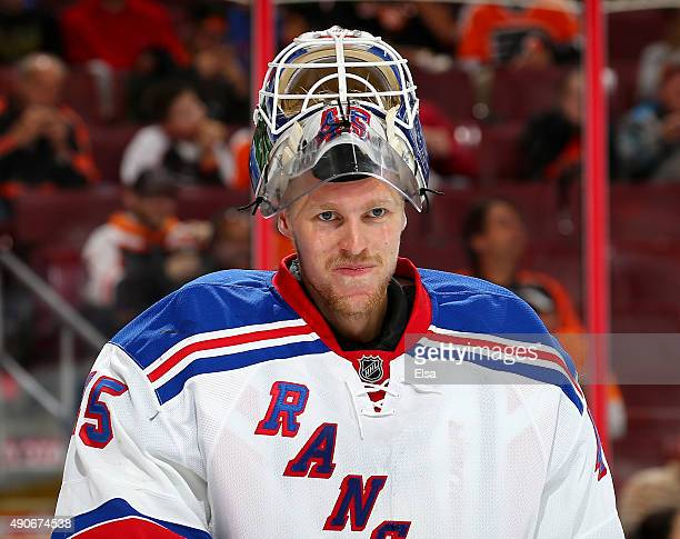 Magnus Hellberg of the New York Rangers looks on during a stop in play in the second period against the Philadelphia Flyers on April 7 2015 at the...