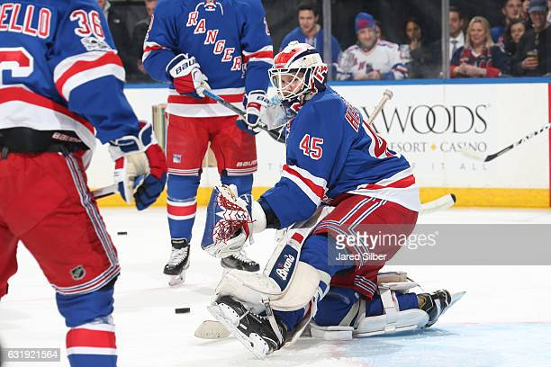 Magnus Hellberg of the New York Rangers makes a save during warmups before the game against the Dallas Stars at Madison Square Garden on January 17...