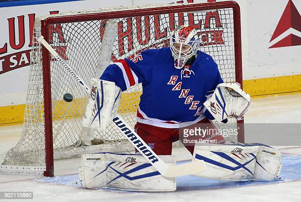 Magnus Hellberg of the New York Rangers skates in warmups prior to the game against the Washington Capitals at Madison Square Garden on December 20...