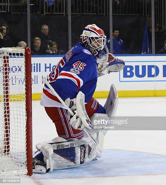 Magnus Hellberg of the New York Rangers tends net against the Dallas Stars at Madison Square Garden on January 17 2017 in New York City The Stars...