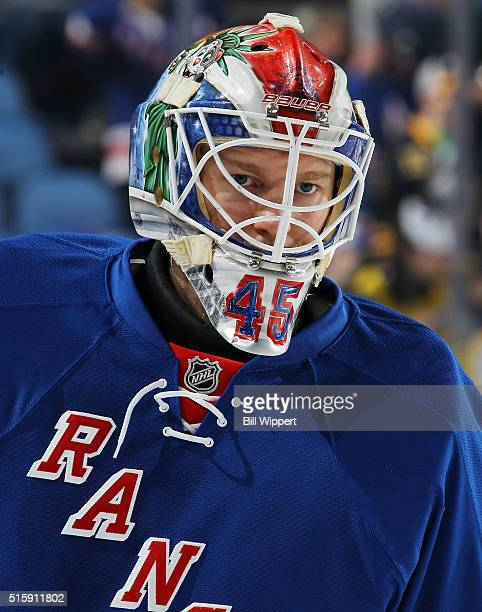 Magnus Hellberg of the New York Rangers warms up before playing against the Buffalo Sabres in an NHL game on March 8 2016 at the First Niagara Center...