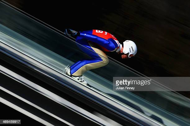 Magnus Hovdal of Norway on the runway before a jump during the Men's Individual Gundersen Large Hill/10 km Nordic Combined training on day 8 of the...