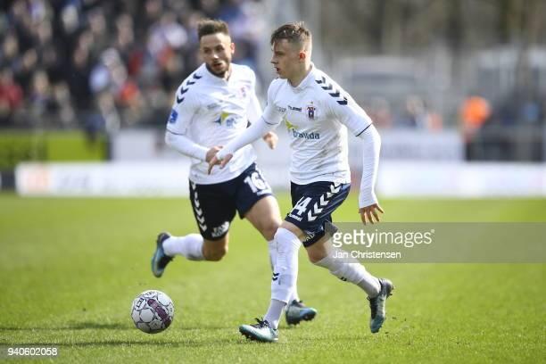 Magnus Kaastrup of AGF Aarhus and Casper Hojer Nielsen of AGF Aarhus in action during the Danish Alka Superliga match between Hobro IK and AGF Aarhus...