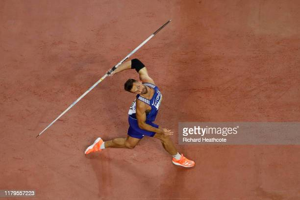 Magnus Kirt of Estonia competes in the Men's Javelin final during day ten of 17th IAAF World Athletics Championships Doha 2019 at Khalifa...