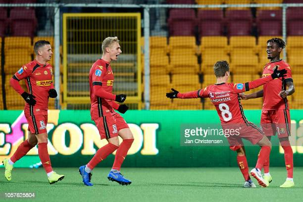 Magnus Kofod Andersen of FC Nordsjalland and Godsway Donyoh of FC Nordsjalland celebrate after the 11 goal from Godsway Donyoh during the Danish...