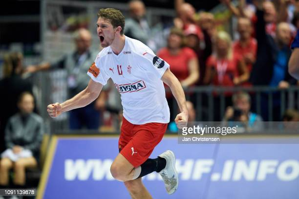 Magnus Landin of Denmark celebrate after goal during the IHF Men's World Championships Handball Final between Denmark and Norway in Jyske Bank Boxen...