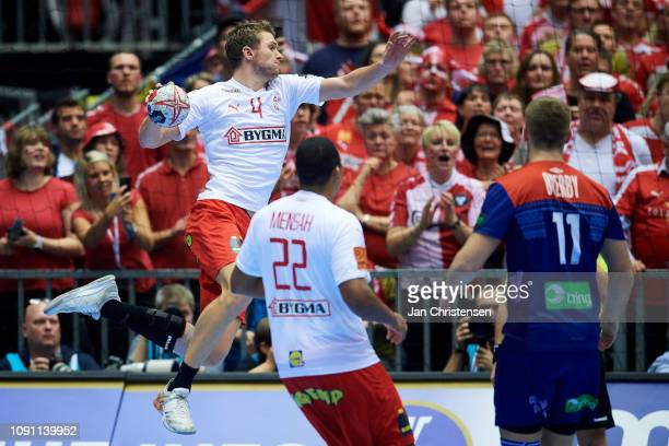 Magnus Landin of Denmark in action during the IHF Men's World Championships Handball Final between Denmark and Norway in Jyske Bank Boxen on January...