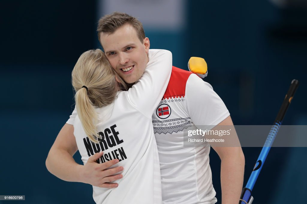 Magnus Nedregotten and Kristin Skaslien of Norway celebrate victory over Dexin Ba and Rui Wang of China during the Curling Mixed Doubles Tie-breaker on day two of the PyeongChang 2018 Winter Olympic Games at Gangneung Curling Centre on February 11, 2018 in Gangneung, South Korea.
