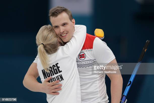 Magnus Nedregotten and Kristin Skaslien of Norway celebrate victory over Dexin Ba and Rui Wang of China during the Curling Mixed Doubles Tiebreaker...